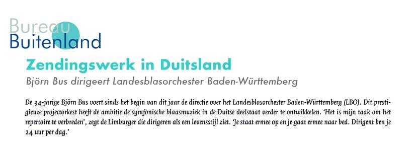 """Interview magazine """"De Dirigent"""" – Zendingswerk in Duitsland"""